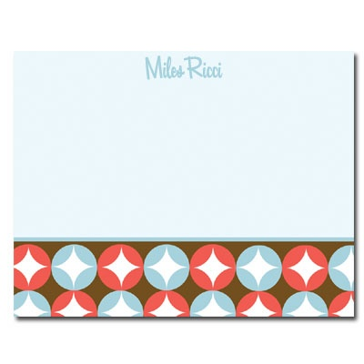 Personalized Noteflats: Retro Circles (Blue) - Click Image to Close