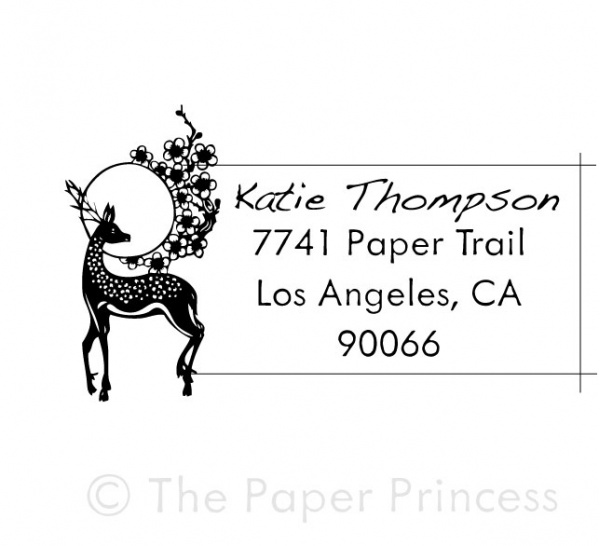 "Return Address Deer Stamp: ""Katie"" - Click Image to Close"