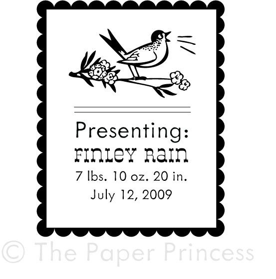 "Custom Baby Rubber Stamp: ""Finley Rain"" - Click Image to Close"