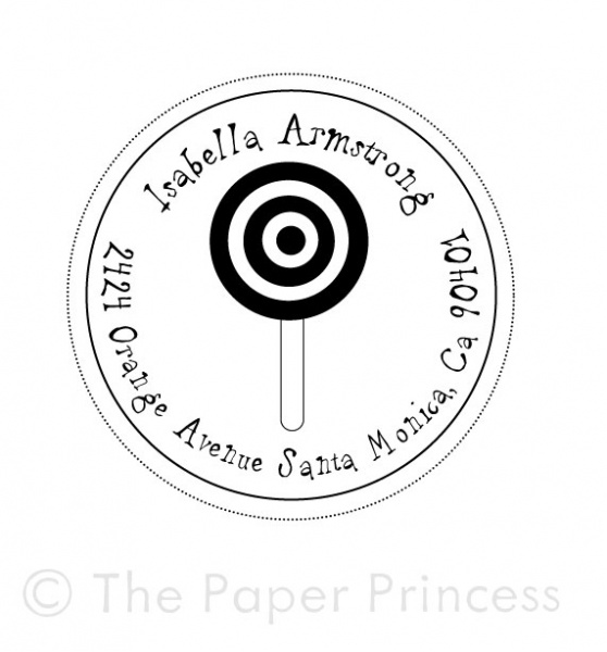 "Return Address Candy Stamp: ""Isabella"" - Click Image to Close"