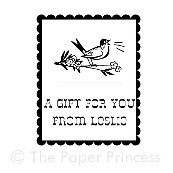 "Custom Gift Tag Rubber Stamp: ""Bird"" - Click Image to Close"