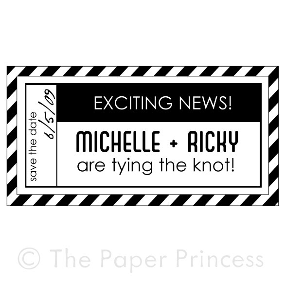 "Custom Wedding Rubber Stamp: ""Michelle + Ricky"" - Click Image to Close"