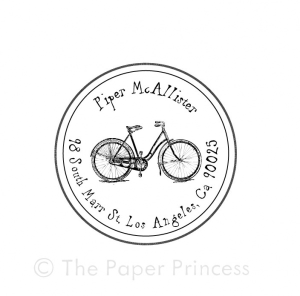 "Return Address Bike Stamp: ""Piper"" - Click Image to Close"