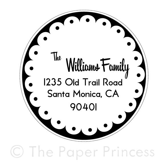 "Return Address Scallop Stamp: ""Williams"" - Click Image to Close"