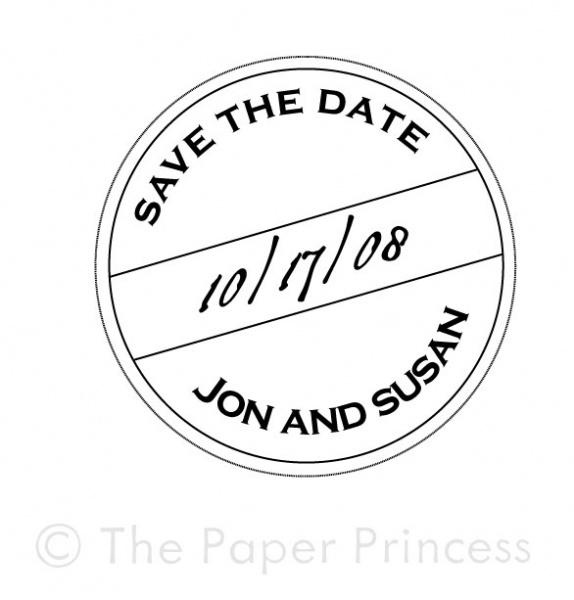 "Custom Wedding Rubber Stamp: ""Jon + Susan"" - Click Image to Close"
