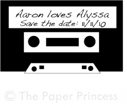"Custom Wedding Rubber Stamp: ""Aaron + Alyssa"""