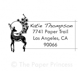 "Return Address Deer Stamp: ""Katie"""