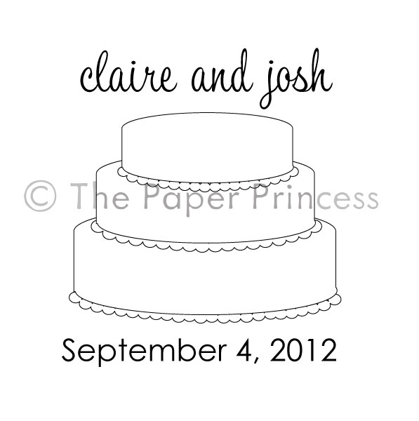 "Custom Wedding Rubber Stamp: ""Claire + Josh"" - Click Image to Close"