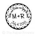 "Custom Wedding Rubber Stamp: ""Mike + Robin"""