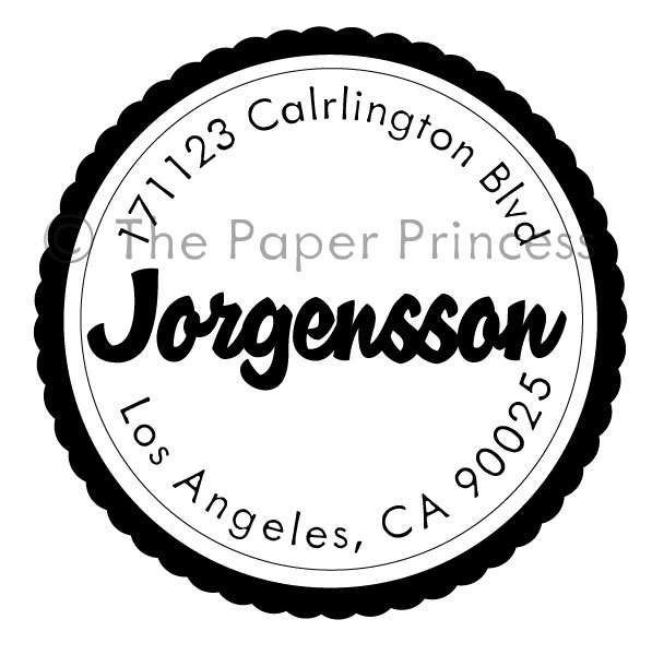 "Round Wavy Seal Stamp: ""Jorgensson"" - Click Image to Close"